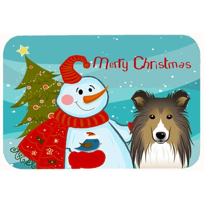 Snowman with Sheltie Kitchen/Bath Mat Size: 24 W x 36 L