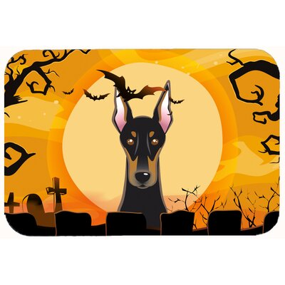 Halloween Doberman Kitchen/Bath Mat Size: 24 W x 36 L