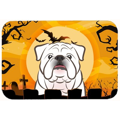 Halloween English Bulldog Kitchen/Bath Mat Size: 20 W x 30 L, Color: White