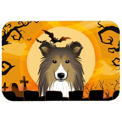 Halloween Sheltie Kitchen/Bath Mat Size: 24 W x 36 L
