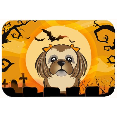 Halloween Shih Tzu Kitchen/Bath Mat Size: 24 W x 36 L, Color: Chocolate/Brown