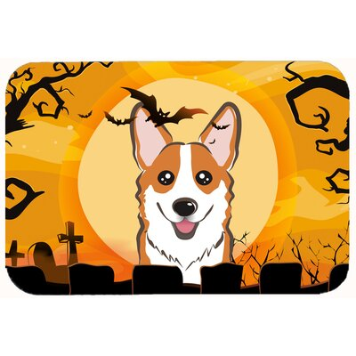 Halloween Corgi Kitchen/Bath Mat Size: 20 W x 30 L, Color: Tan