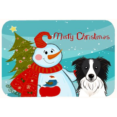 Snowman with Border Collie Kitchen/Bath Mat Size: 20 W x 30 L