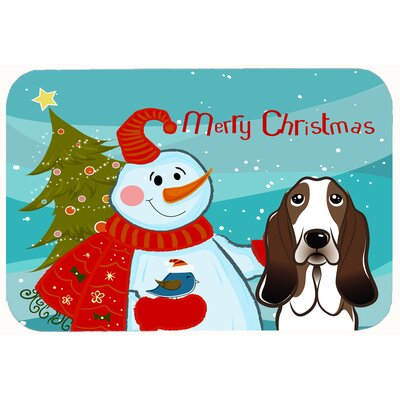 Snowman with Basset Hound Kitchen/Bath Mat Size: 20 W x 30 L