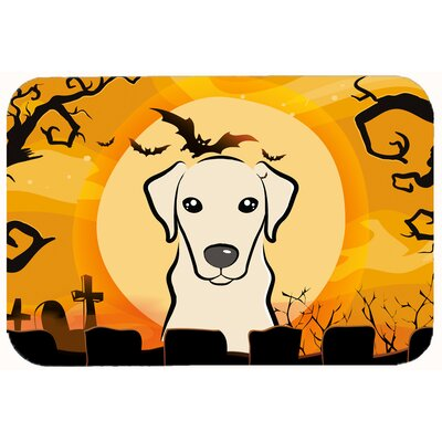 Halloween Labrador Kitchen or Bath Mat Size: 24 W x 36 L, Color: Cream