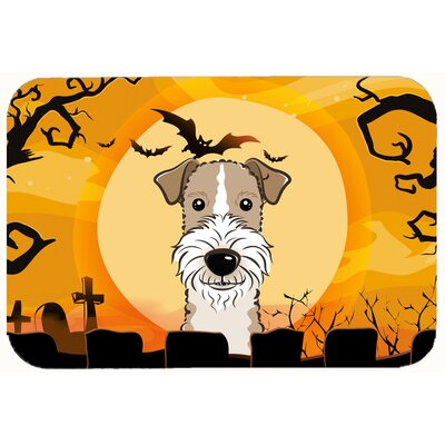 Halloween Wire Haired Fox Terrier Kitchen/Bath Mat Size: 24 W x 36 L