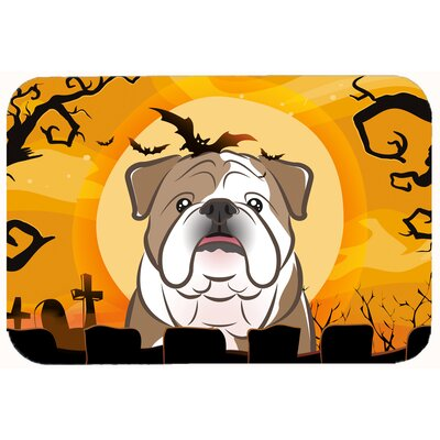 Halloween English Bulldog Kitchen/Bath Mat Size: 24 W x 36 L, Color: Brown