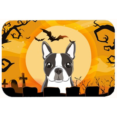 Halloween Boston Terrier Kitchen/Bath Mat Size: 20