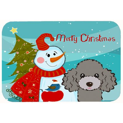 Snowman with Poodle Kitchen/Bath Mat Color: Silver/Gray, Size: 20 W x 30 L