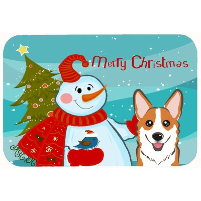 Snowman with Corgi Kitchen/Bath Mat Size: 20 W x 30 L, Color: Tan
