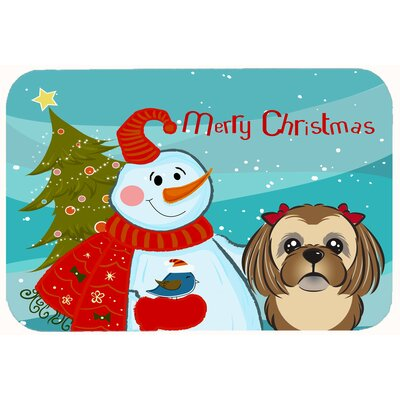Snowman with Shih Tzu Kitchen/Bath Mat Size: 24 W x 36 L, Color: Chocolate/Brown