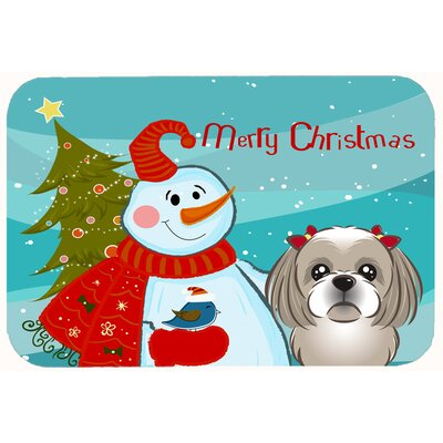 Snowman with Shih Tzu Kitchen/Bath Mat Size: 24 W x 36 L, Color: Gray/Silver