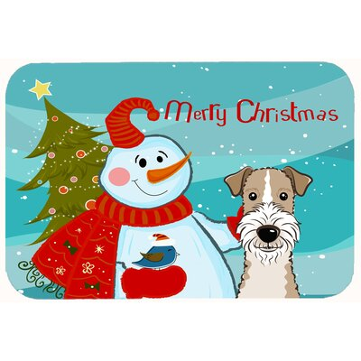 Snowman with Wire Haired Fox Terrier Kitchen/Bath Mat Size: 24 W x 36 L
