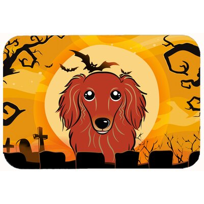 Halloween Longhair Dachshund Kitchen/Bath Mat Size: 24 W x 36 L, Color: Red