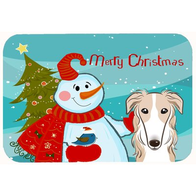 Snowman with Borzoi Kitchen/Bath Mat Size: 24 W x 36 L