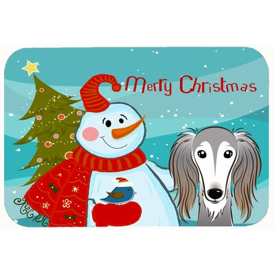 Snowman with Saluki Kitchen/Bath Mat Size: 20 W x 30 L