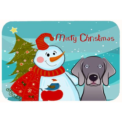 Snowman with Weimaraner Kitchen/Bath Mat Size: 20 W x 30 L