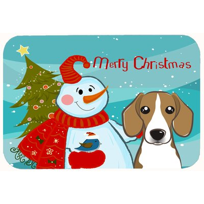 Snowman with Beagle Kitchen/Bath Mat Size: 24 W x 36 L