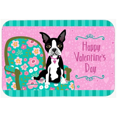 Happy Valentines Day Boston Terrier Kitchen/Bath Mat Size: 20 W x 30 L