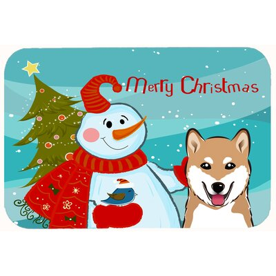 Snowman with Shiba Inu Kitchen/Bath Mat Size: 24 W x 36 L