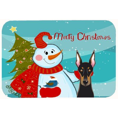 Snowman with Doberman Kitchen/Bath Mat Size: 24 W x 36 L