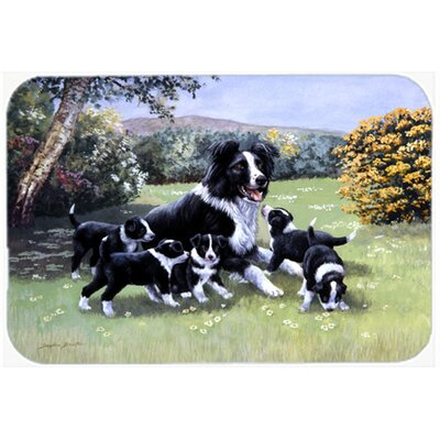 Border Collie Puppies with Momma Kitchen/Bath Mat Size: 20 W x 30 L