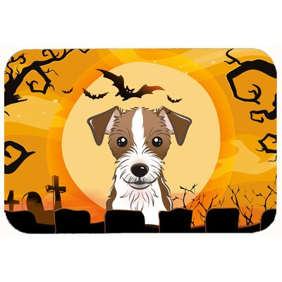 Halloween Jack Russell Terrier Kitchen/Bath Mat Size: 24 W x 36 L