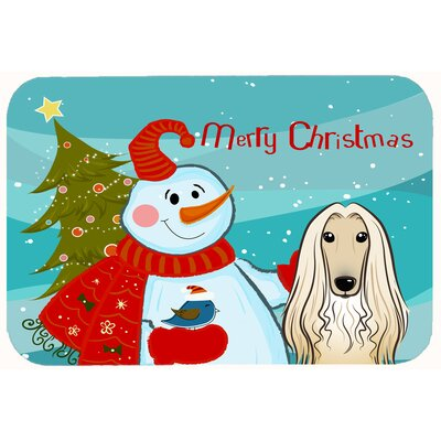 Snowman with Afghan Hound Kitchen/Bath Mat Size: 20 W x 30 L