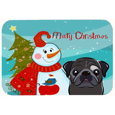 Snowman with Pug Kitchen/Bath Mat Color: Black, Size: 20 W x 30 L