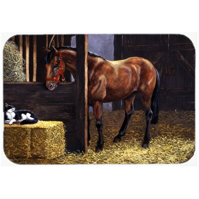 Horse in Stable with Cat Kitchen/Bath Mat Size: 20 W x 30 L