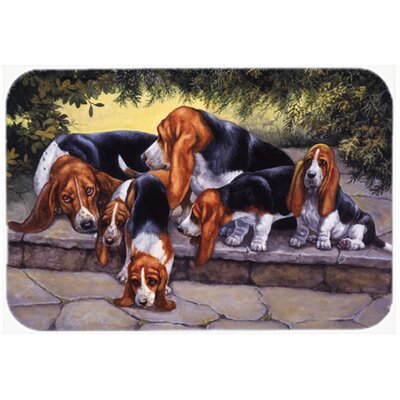 Basset Hound Puppies, Momma and Daddy Kitchen/Bath Mat Size: 20 W x 30 L