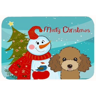 Snowman with Poodle Kitchen/Bath Mat Size: 20 W x 30 L, Color: Chocolate/Brown