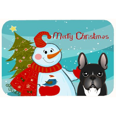 Snowman with French Bulldog Kitchen/Bath Mat Size: 24