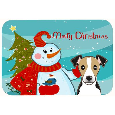 Snowman with Jack Russell Terrier Kitchen/Bath Mat Size: 24 W x 36 L, Color: Brown