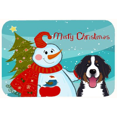 Snowman with Bernese Mountain Dog Kitchen/Bath Mat Size: 24 W x 36 L