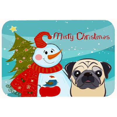 Snowman with Pug Kitchen/Bath Mat Size: 20 W x 30 L, Color: Fawn