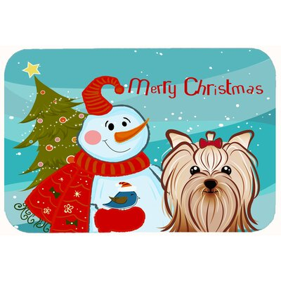 Snowman with Yorkie Yorkshire Terrier Kitchen/Bath Mat Size: 24 W x 36 L