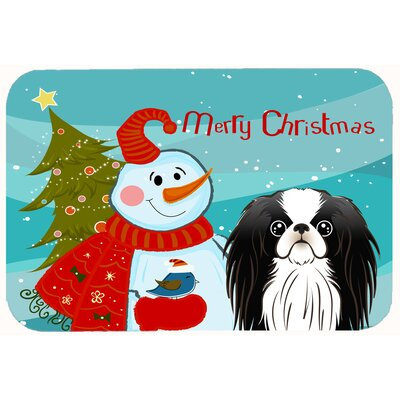Snowman with Japanese Chin Kitchen/Bath Mat Size: 24 W x 36 L