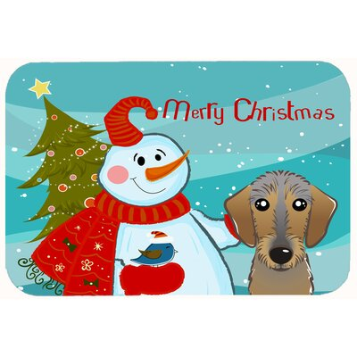 Snowman with Wirehaired Dachshund Kitchen/Bath Mat Size: 24 W x 36 L