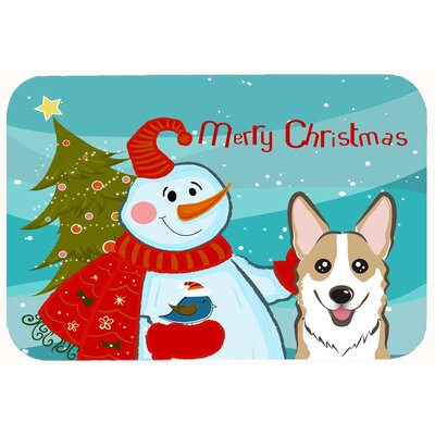 Snowman with Corgi Kitchen/Bath Mat Size: 24 W x 36 L, Color: Sable