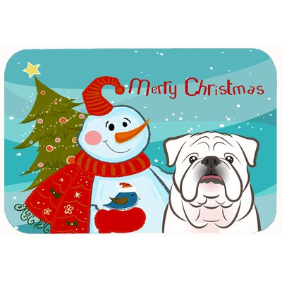 Snowman with English Bulldog Kitchen/Bath Mat Size: 20 W x 30 L, Color: White