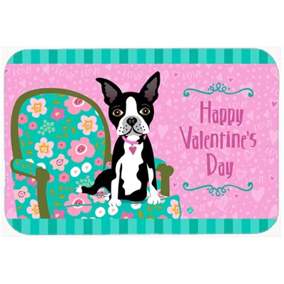 Happy Valentines Day Boston Terrier Kitchen/Bath Mat Size: 24 W x 36 L
