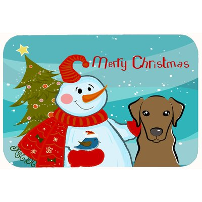 Snowman with Labrador Kitchen/Bath Mat Size: 20 W x 30 L, Color: Chocolate