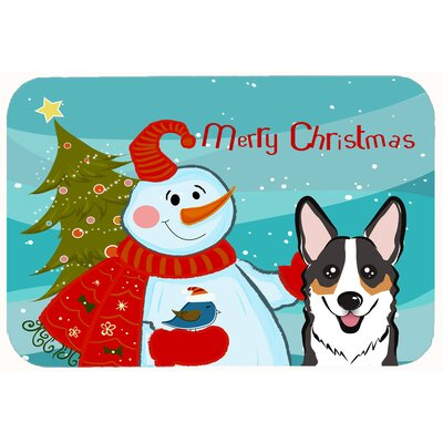 Snowman with Corgi Kitchen/Bath Mat Size: 20 W x 30 L, Color: Black/Gray/Tan