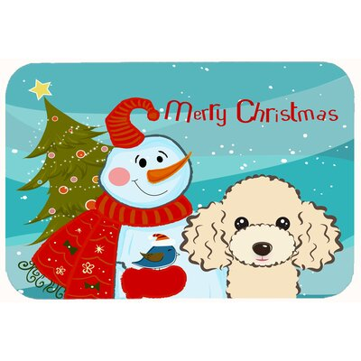 Snowman with Poodle Kitchen/Bath Mat Size: 20 W x 30 L, Color: Buff