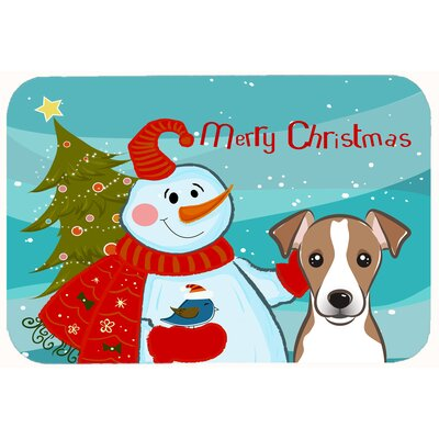 Snowman with Jack Russell Terrier Kitchen/Bath Mat Color: Gray/Beige, Size: 20 W x 30 L
