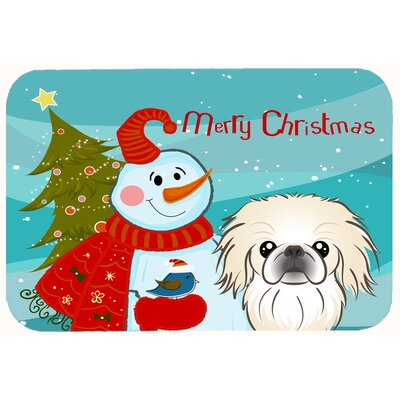Snowman with Pekingese Kitchen/Bath Mat Size: 24 W x 36 L