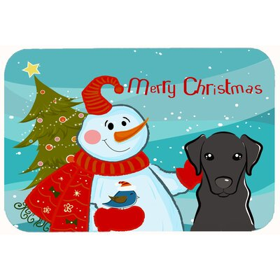 Snowman with Labrador Kitchen/Bath Mat Size: 20 W x 30 L, Color: Black