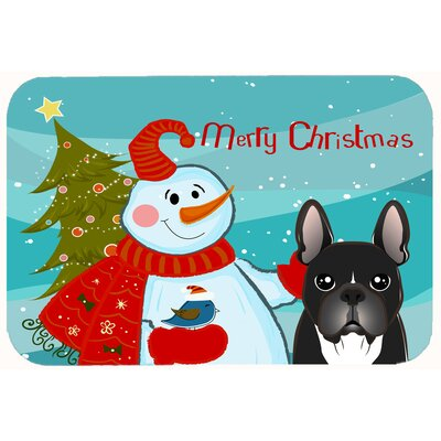 Snowman with French Bulldog Kitchen/Bath Mat Size: 20 W x 30 L