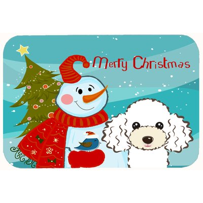 Snowman with Poodle Kitchen/Bath Mat Size: 24 W x 36 L, Color: White
